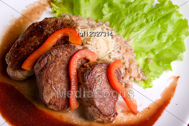 Roast Maral Meat With Blood And Garnish Pearl Barley - Very Tasty Dish Stock Photo