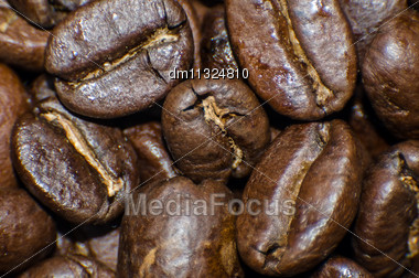 Roasted Coffee Beans Extra Close-up Stock Photo