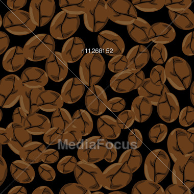 Roasted Coffee Beans, Pattern Background Stock Photo