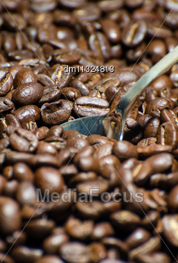 Roasted Coffee Beans With Spoon. Close-up Stock Photo