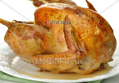 Roasted Turkey On White Background Stock Photo