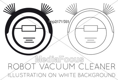 Robot Vacuum Cleaner On A White Background. Vector Flat Illustration On White Background Stock Photo