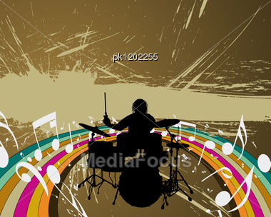 Rock Group Drummer. Vector Illustration For Design Use. Stock Photo