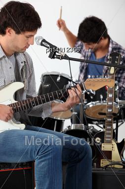 Rock Group Rehearsing Stock Photo