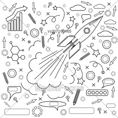 Rocket Icon Isolated On White Background. Concept Of Success, Start Up, Initiatives, Team Work. Lines Design Stock Photo