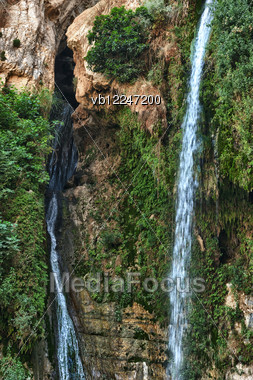 Rocks, Streams And Waterfalls - Ein Gedi Nature Reserve Off The Coast Of The Dead Sea. Stock Photo