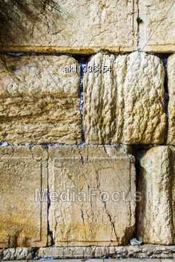 Rocks Of The Wailing Wall Close Up In Jerusalem, Israel Stock Photo
