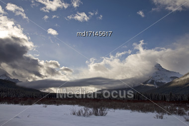 Rocky Mountains In Winter Alberta Canada Banff Park Stock Photo