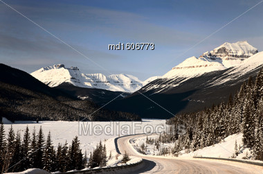 Rocky Mountains In Winter Canada Icefields Parkway Stock Photo