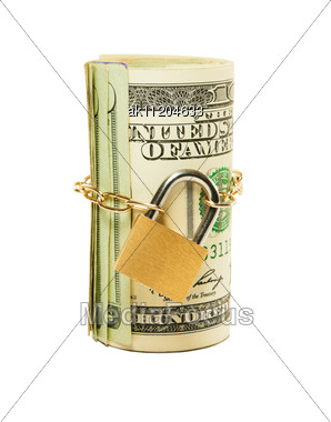 Roll Of US Dollars Chained And Locked Stock Photo