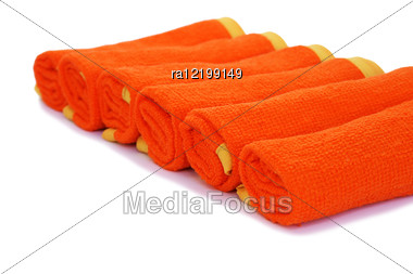 Rolled Towels Isolated On White Background. Stock Photo