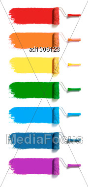Roller Brushes With Seven Colors Paint Stock Photo