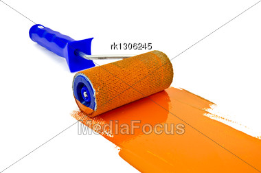 Roller Paint With Orange Paint And A Blue Handle Stock Photo