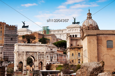 Roman Ruins In Rome. Antique. Blue Sky. Day Stock Photo