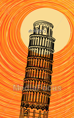 Romantic Background Illustration With Stylized Tuscany Leaning Tower Of Pisa In The Sun Stock Photo
