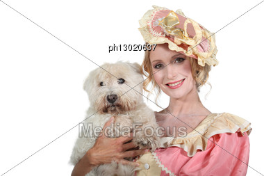 Romantic Character With Dog Stock Photo