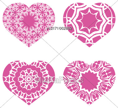 Romantic Pink Heart Set Isolated On White Background. Image Suitable For Laser Cutting. Symbol Of Valentines Day Stock Photo