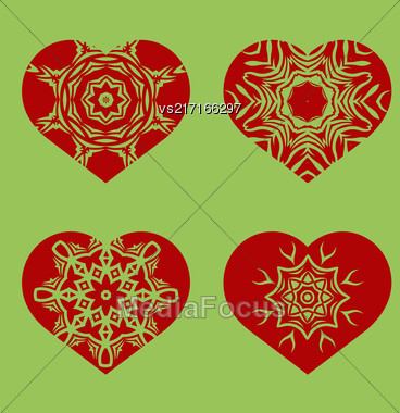 Romantic Red Heart Set Isolated On Green Background. Image Suitable For Laser Cutting. Symbol Of Valentines Day Stock Photo