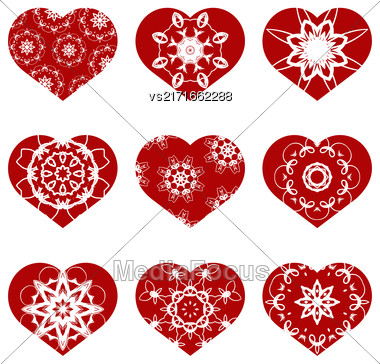 Romantic Red Heart Set Isolated On White Background. Image Suitable For Laser Cutting. Symbol Of Valentines Day Stock Photo