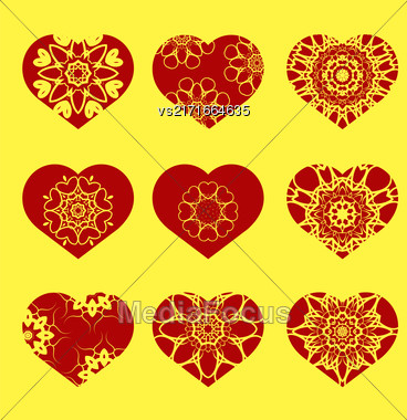 Romantic Red Heart Set Isolated On Yellow Background. Image Suitable For Laser Cutting. Symbol Of Valentines Day Stock Photo