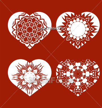 Romantic White Heart Set Isolated On Red Background. Image Suitable For Laser Cutting. Symbol Of Valentines Day Stock Photo