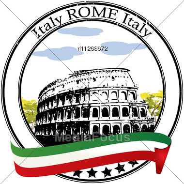 Rome Grunge Rubber Stamp And Flag Stock Photo