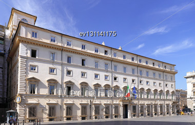 Rome, The Quirinal Palace, The Official Residence Of The Presidents Of The Italian Republic. Panorama Stock Photo