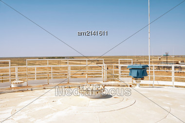 Rooftop An Oil Reservoir. View From Above Stock Photo