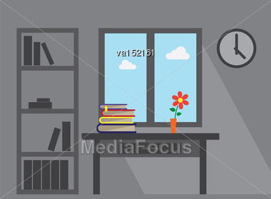 Room Window Lond Shadow Furniture Office Table Books And Flower Vector Flat Illustration Stock Photo