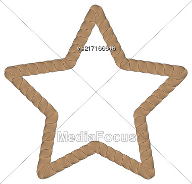 Rope Creative Ornamental Star Frame Isolated On White Background Stock Photo