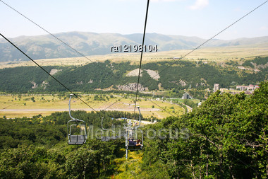 Ropeway In Mountain City Jermuk, Armenia. Stock Photo