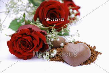 Roses and Chocolate Stock Photo