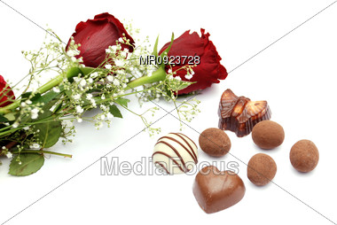 Roses with chocolate Stock Photo