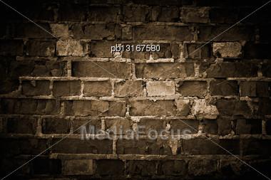 Rough Brick Wall, Toned Stock Photo