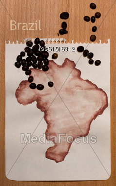 Roughly Drawn On The Sheet Of Paper With Gouache Map Of Brazil And Coffee Beans On It Stock Photo