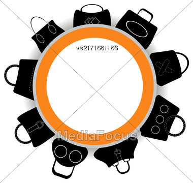 Round Banner. Collection Of Womens Handbags On White Background Stock Photo