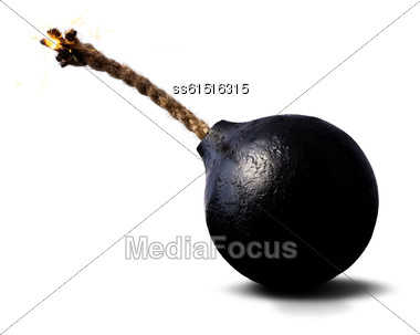 Round Black Bomb With A Burning Wick Rope Stock Photo