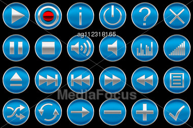 Round Blue Control Panel Icons Or Buttons Isolated On Black Stock Photo