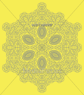 Round Geometric Mandala Ornament Isolated On Yellow Background Stock Photo