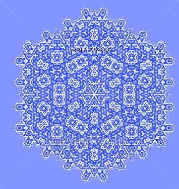 Round Geometric Ornament Isolated On Blue Background Stock Photo