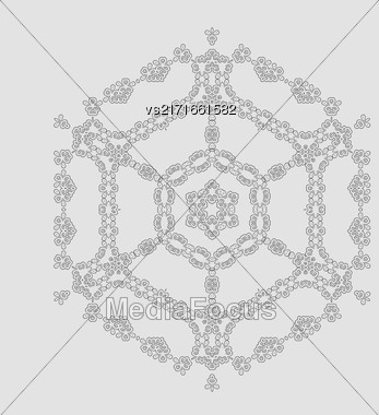 Round Geometric Ornament Isolated On Grey Background Stock Photo