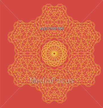 Round Geometric Ornament Isolated On Red Background Stock Photo
