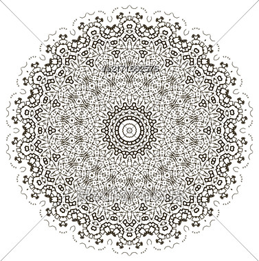 Round Geometric Ornament Isolated On White Background Stock Photo