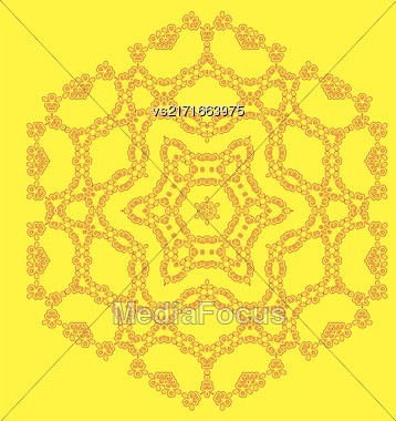 Round Geometric Ornament Isolated On Yellow Background Stock Photo