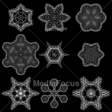 Round Geometric Ornaments Set Isolated On Black Background Stock Photo