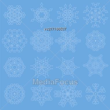 Round Geometric Ornaments Set Isolated On Blue Background Stock Photo