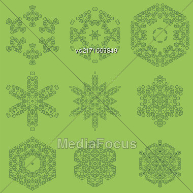 Round Geometric Ornaments Set Isolated On Green Background Stock Photo