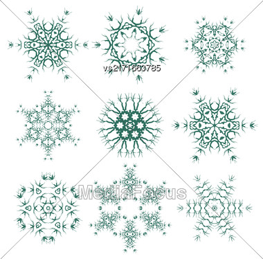 Round Geometric Ornaments Set Isolated On White Background. Elements For Decor Stock Photo