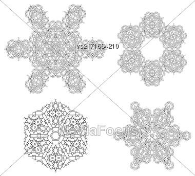 Round Geometric Ornaments Set Isolated On White Background Stock Photo