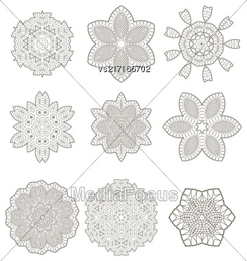 Round Geometric Ornaments Set Isolated On White Background Stock Photo